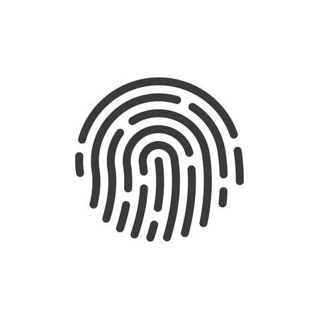 Human fingerprint black vector icon. Finger print, biometric id symbol.