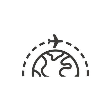 Airplane with planet or globe black vector icon. Flight route, earth with plane flying symbol.