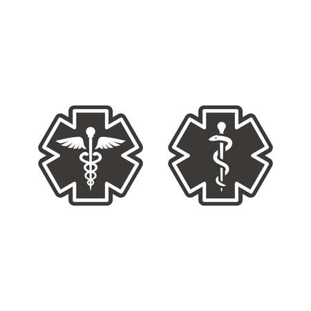 First aid, medical emergency vector symbol. Rod of asclepius or aesculapius and Caduceus with snake, ems icon.
