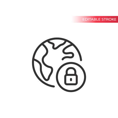 Padlock and globe, planet earth vector web icon. Safe and secure website outline symbol, editable stroke. 矢量图像