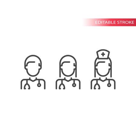 Medical doctor and nurse line vector icon set. Outline, editable stroke symbols.