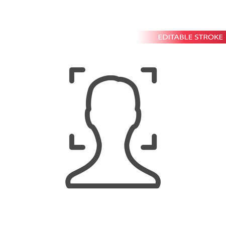 Face scan or scanner line vector icon. Outline, editable stroke. 矢量图像