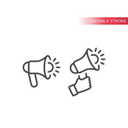 Megaphone or loudspeaker line vector icon. Hand holding bullhorn or blow horn outline symbol, editable stroke. 矢量图像