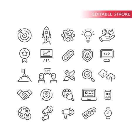 Seo line vector icon set. Search engine optimization, website symbols. Web business outline icons, editable stroke.