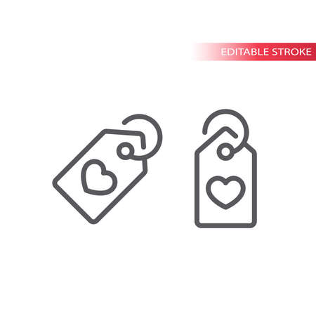 Price tag with heart, like or love item line icon. Outline vector symbol, editable stroke.