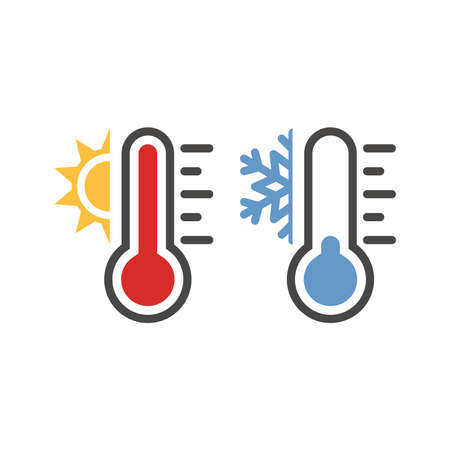 Thermometer with sun and snowflake icon set. Vector weather symbol set for warm, hot, cold temperature. 矢量图像