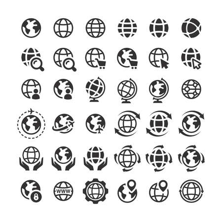 Globe web vector icon set. Planet Earth icons for websites. Illusztráció
