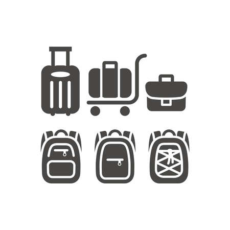 Luggage black vector icon set. Suitcase, handbag and backpack symbols.