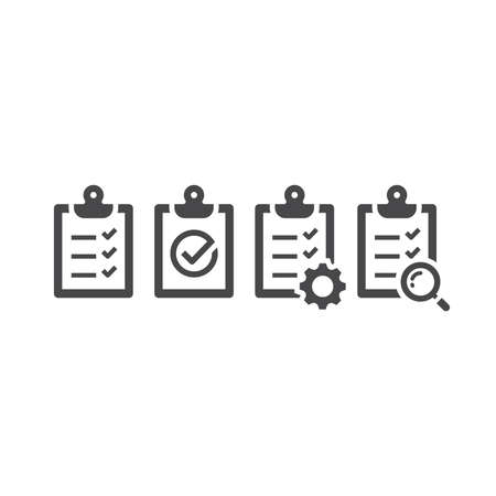 Clipboard checklist black vector icon set. Clip board with gear, loupe, tick or check mark symbol.