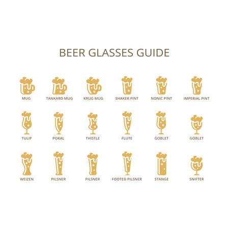 Beer glasses guide infographic. Mug, strange, goblet,  glass type vector. Open Sans font.