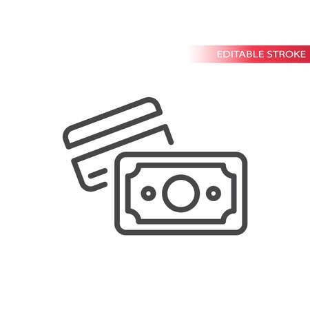 Cash and credit card payment line vector icon. Money, dollar symbol, editable stroke. Illusztráció