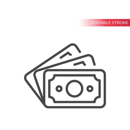 Cash money, banknotes line vector icon. Banknote fan symbol, editable stroke. Illusztráció