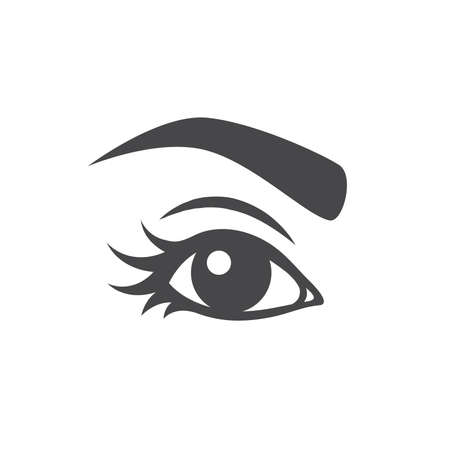Beautiful woman eye with long lashes. Girl eye with eyebrow vector, make up symbol. Vectores