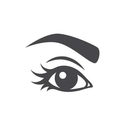 Beautiful woman eye with long lashes. Girl eye with eyebrow vector, make up symbol. Illusztráció
