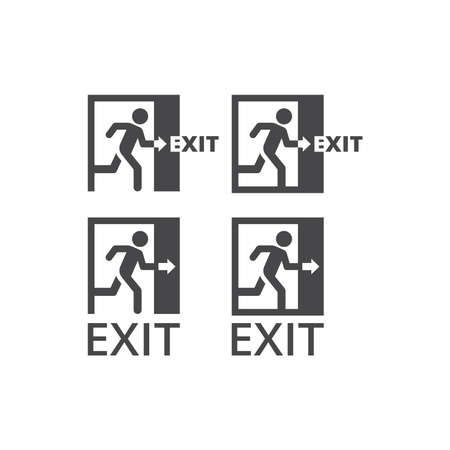 Exit black vector icon. Man running trough door glyph sign.