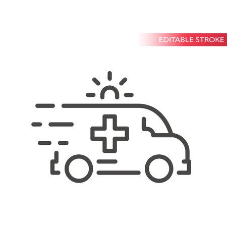 Fast ambulance with siren line vector icon. First aid, emergency symbol, editable stroke. Illusztráció