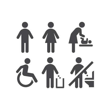 Wc or toilet black vector icon set. Men, women, ladies and gentlemen restroom signs. Disabled and changing room symbols. Vecteurs