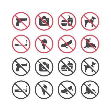 Red prohibition vector icon set. No smoking, no food, no pets, no guns sign set. Illusztráció