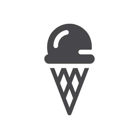 Ice cream black vector icon. Ice-cream with waffle cone symbol.