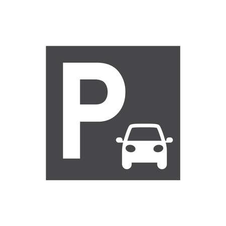 Car parking sing. Black vector icon. Vectores