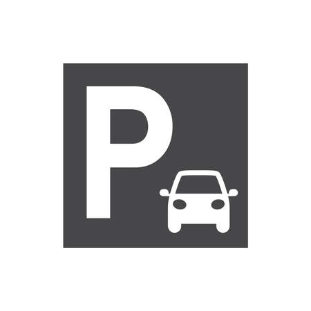 Car parking sing. Black vector icon. Illusztráció