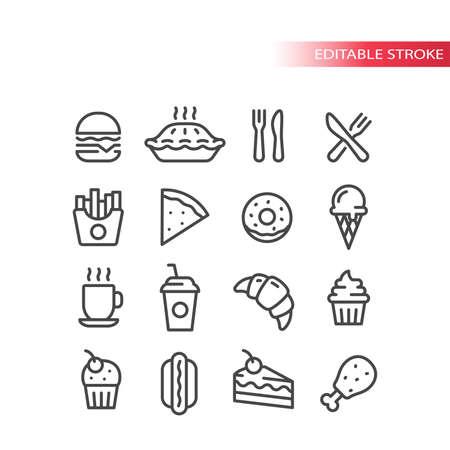 Fast food diner or restaurant line vector icon set. Burger, hot dog, cake, fries symbols, editable stroke.