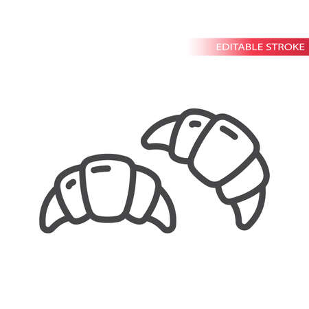 Croissant line vector icon. Outline, editable stroke symbol. Illusztráció