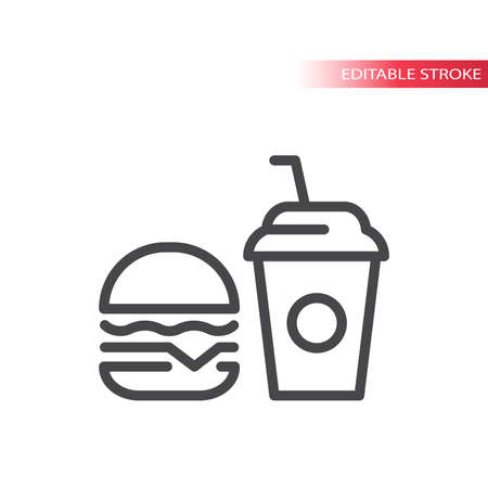 Burger and soda drink line vector icon. Fast food outline symbol, editable stroke. Vectores