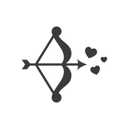 Bow, arrow and hearts black vector icon. Love, cupid and valentine symbol. Vectores