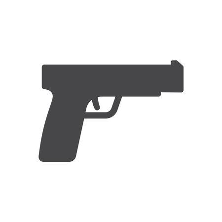 Gun black vector icon. Pistol handgun or revolver symbol.