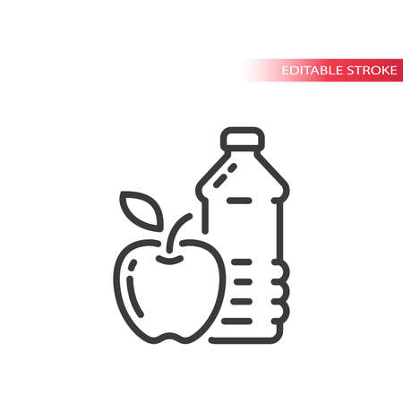 Apple and a water bottle line vector icon. Eating healthy outline symbol, editable stroke.