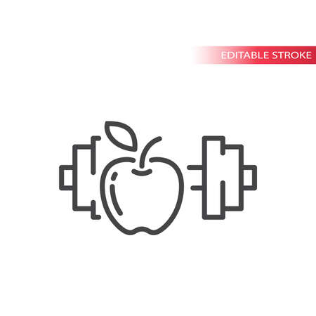 Apple and a dumbbell line vector icon. Eating healthy and fitness workout outline symbol, editable stroke.