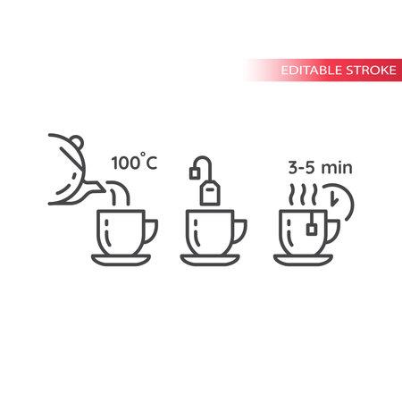 Tea preparation instruction line vector icon. Tea mug, bag, teapot outline symbols, editable stroke. Illusztráció