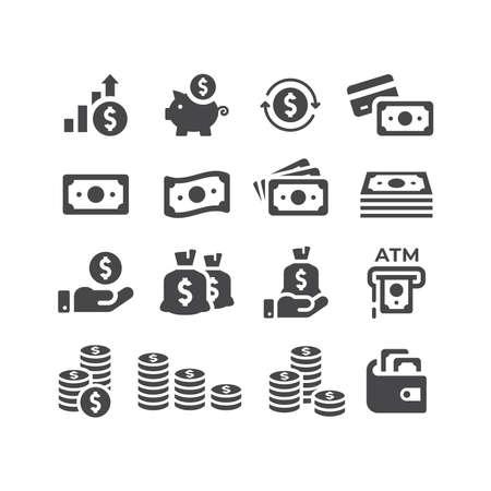 Money or financial vector icon set. Dollar coin, money stack, wallet, banknote finance symbols. Vectores