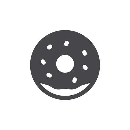 Donut black vector icon. Doughnut with sprinkles glyph symbol. 免版税图像 - 167391019
