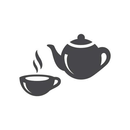 Tea cup and teapot black vector icon. Tea pot and hot mug symbol. Vectores