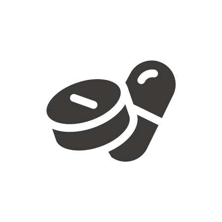 Pills black vector icon. Capsule and tablet symbol. 免版税图像 - 167391018