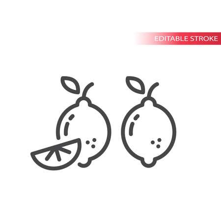 Lemon slice line vector icon. Outline, editable stroke fruit.