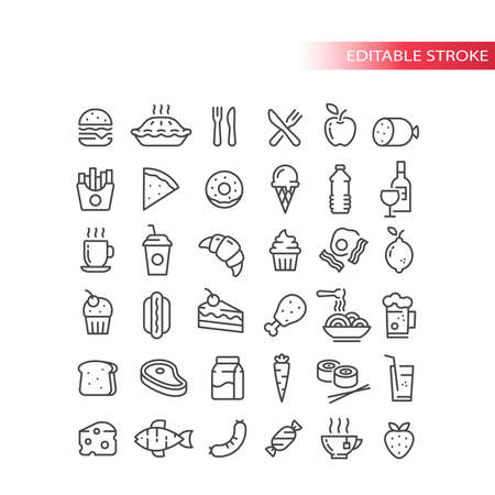 Fast food, drink and groceries line vector icon set. Eggs, bacon, burger fries outline symbols, editable stroke.