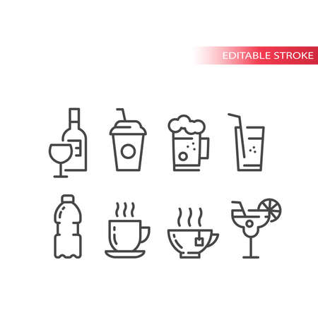Cup and glass for cocktail, coffee and beer icon set. Wine bottle, glasses, water bottle line vector icons. Editable stroke.