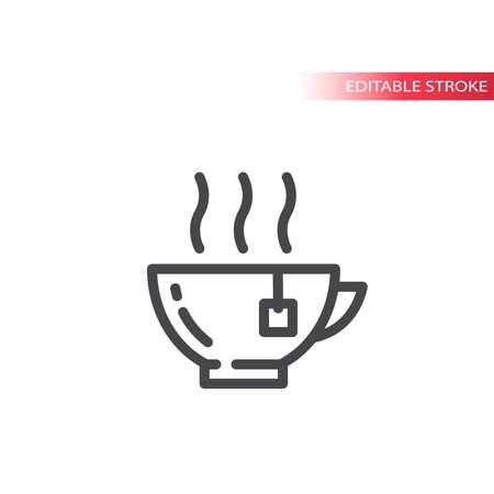 Tea hot cup or mug line vector icon. Outline, editable stroke.