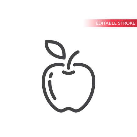 Apple line vector icon. Outline, editable stroke. Vectores