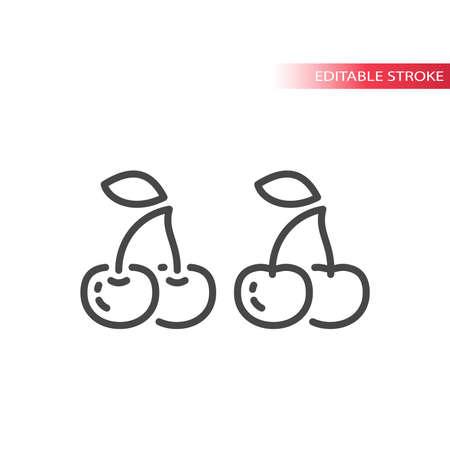 Cherry line vector icon. Cherries outline symbol, editable stroke. Vectores