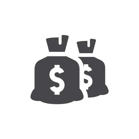 Money dollar bag or sack vector icon. Savings or earnings black symbol.