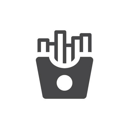 Potato chips black vector icon. French fries glyph symbol.
