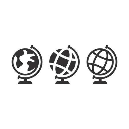 Globus black vector icon. Planet earth globe symbol.