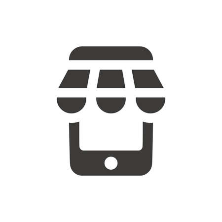 Storefront tent with phone, online shopping icon. Black e commerce or e trade vector symbol.