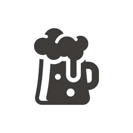 Beer glass black vector icon. Tankard mug symbol. Vettoriali