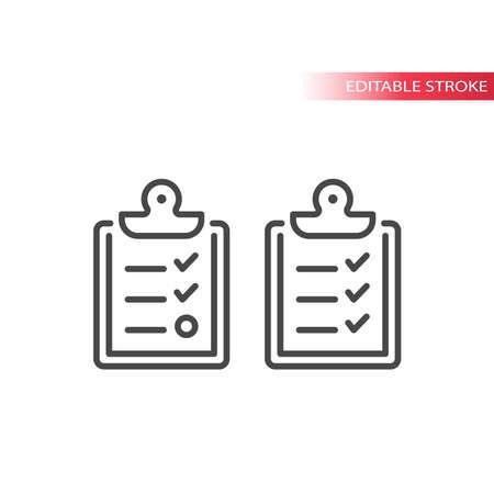 Clipboard checklist line vector icon. Board with checkmark symbol. Vettoriali