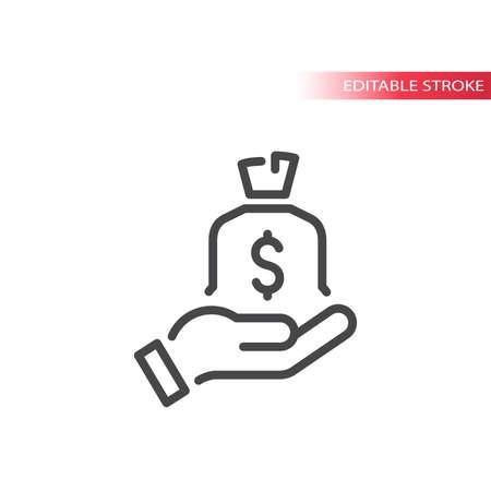 Money bag or sack with hand line vector icon. Editable stroke symbol. Vettoriali